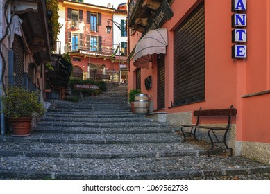 Wonderful BELLAGIO, ITALY   DECEMBER 2017: Traditional Italian Street With Pebble  Stairs At City Of