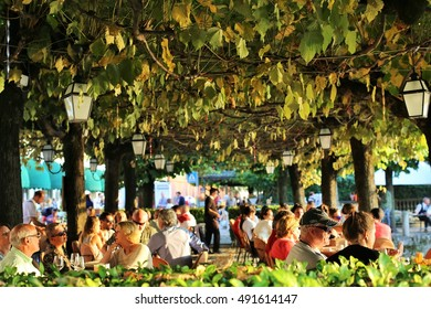 Bellagio, Italy. September 24, 2016. A typical restaurant with a terrace near the Lake Como