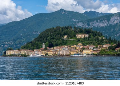 Bellagio, Lake Como / Italy - June 14 2018: View of Bellagio from a ferry on Lake Como Italy