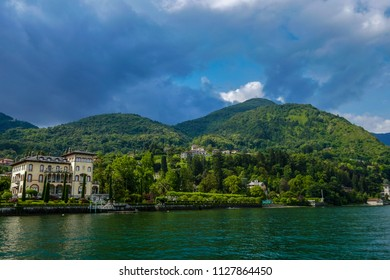Bellagio, Lake Como / Switzerland - June 12 2018: View of church Chiesa Santa Maria di Loppia on the banks of Lake Como, Italy