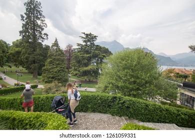 BELLAGIO LOMBARDY ITALY ON APRIL 2017: Bellaggio in Lago di Como lake in Lombardy Italy. Public park in Easter festival on April 15, 2017.