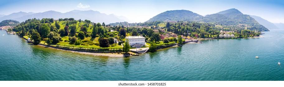 Bellagio - Loppia - Lake Como (IT) - Villa Melzi and Villa Trivulzio with park - Aerial view