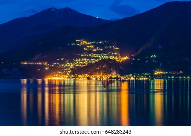 Bellagio at night  on the beautiful Lake Como is surrounded by Italys Bergamo Alps