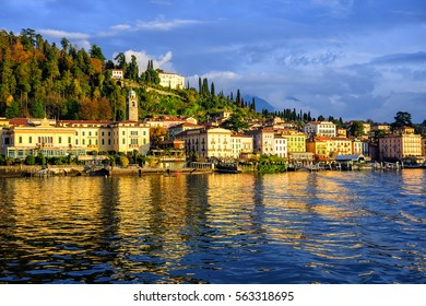 Bellagio resort town seen from Lake Como on sunset, Lombardy, Italy