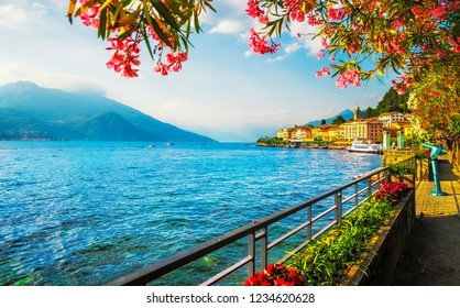 Bellagio town in Como lake district. Italian traditional lake village. Italy, Europe.