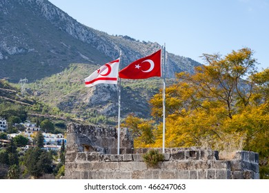 BELLAPAIS, CYPRUS - JANUARY 27:  The flags of Turkey and the Turkish Republic of Northern Cyprus fly side by side at Bellapais Abbey in Northern Cyprus on January 27, 2016.
