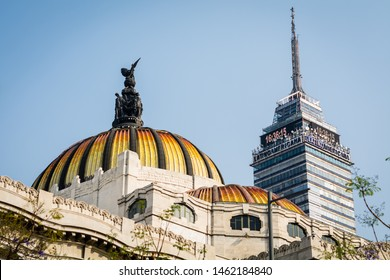 Bellas Artes and Torre Latino, Mexico City / Mexico - October 5, 2017 : View of Bellas Artes Building and Torre Latinoamericana from Alameda Central