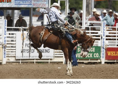 BELLE FOURCHE, SOUTH DAKOTA - JULY 4:  Saddle bronc riding competition at the 90th annual Black Hills Roundup rodeo in Belle Fourche, South Dakota July 4, 2009.