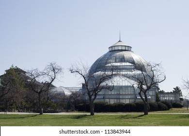 Belle Isle Conservatory on Belle Isle in Detroit Michigan on a spring morning.