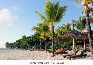 Belle Mare beach by sunrise in Mauritius