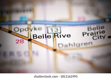 Belle Rive. Illinois. USA on a geography map