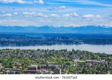 Bellevue and Cascades from Seattle
