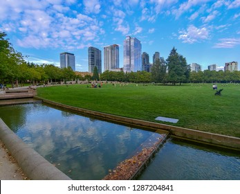 Bellevue Downtown Park is park located in the heart of downtown Bellevue, WA. The park was designed for passive and unstructured use, and as a respite from the activities of busy urban life.