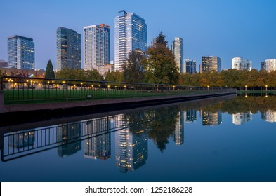 Bellevue Downtown Park at Twilight, Washington-USA