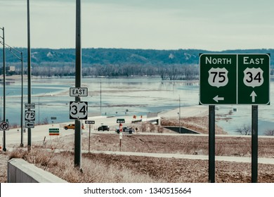 Bellevue, Nebraska / USA - March 2019: Nebraska flood waters resulting from bomb cyclone.