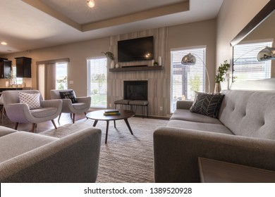 Bellevue, Nebraska / USA - May 5, 2019: Transitional modern interior design