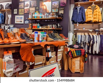 Bellevue, WA / USA - November 1st, 2019: Wayward outdoors and recreation store filled with hiking and camping gear.