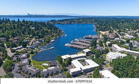Bellevue Washington Aerial View of Meydenbauer Bay Whalers Cove