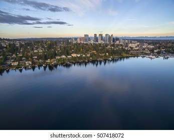 Bellevue Washington Aerial View of the Skyline Cityscape