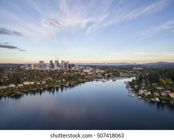Bellevue Washington Cityscape and Meydenbauer Bay Aerial View