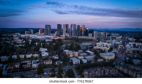 Bellevue Washington Downtown Skyscrapers Purple Glow Evening Light