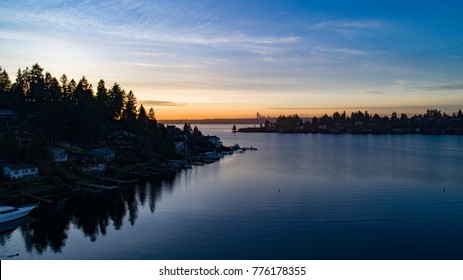 Bellevue Washington Lake Meydenbauer Bay Sunset Looking Towards Seattle Skyline