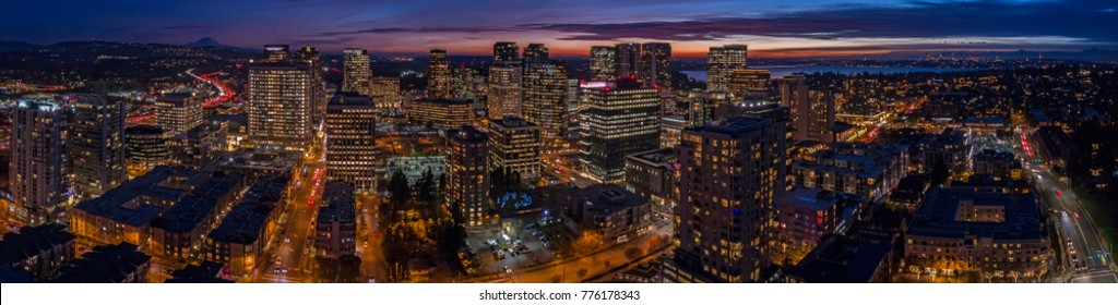 Bellevue Washington Night Sunset Downtown Panoramic Aerial View