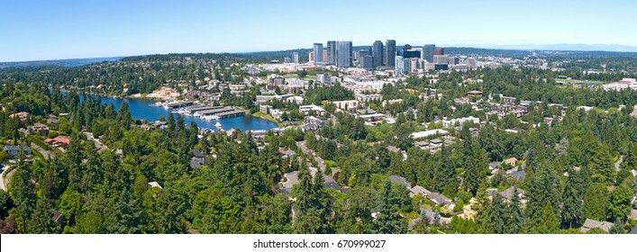 Bellevue Washington Urban Aerial Panoramic City Landscape