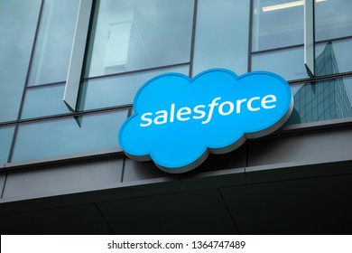 Bellevue, Washington / USA - April 2 2019:   Salesforce sign at the offices of the cloud computing and software corporation