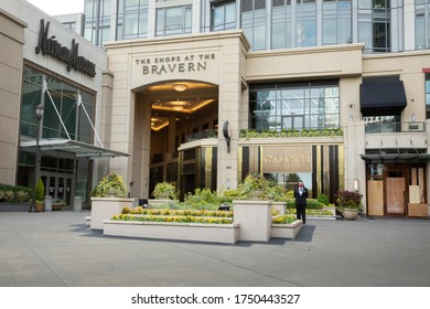 """Bellevue, Washington / USA - June 1 2020:  Entrance to """"The Shops At The Bravern"""", a luxury shopping mall with designer boutiques"""