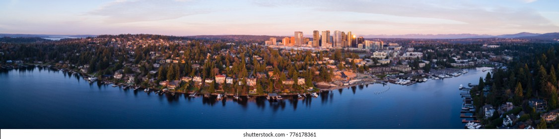 Bellevue Washington Waterfront Panoramic View Entire Downtown Skyline