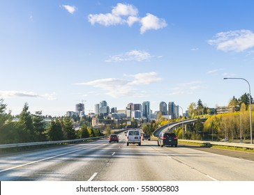 bellevue,Washington,usa.2016.03.28: freeway to bellevue city on sunny day.