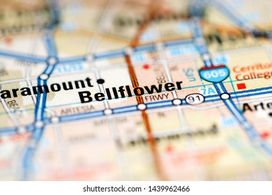 Bellflower. California. USA on a geography map