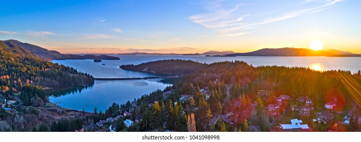 Bellingham Bay Panoramic Lummi Samish San Juan Island Teddy Bear Cove Aerial Landscape Sunset View