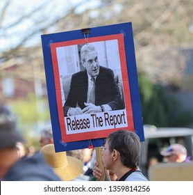 Bellingham, WA / USA - 04/04/2019: Protestors joined thousands in cities across the US to urge Attorney General William Barr to release the full unredacted report on the Mueller Investigation.