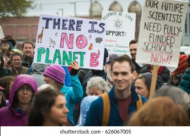 BELLINGHAM, WASHINGTON, USA - April 22, 2017: Thousands of people marched and held signs during the March for Science on Earth Day to defend the vital role of science in our lives.