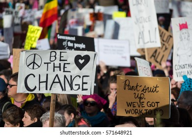 BELLINGHAM, WASHINGTON, USA - January 21, 2017: Thousands marching, holding signs during a Womxn's March in solidarity with the national Womxn's March to protest Donald Trump and his rhetoric.