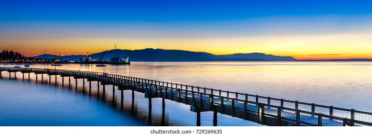 Bellingham, Washington - USA. Sunset over the Pacific coast.