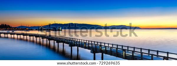 Bellingham, Washington - USA. Sunset over the Pacific coast.