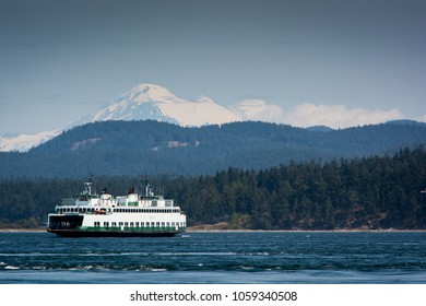 BELLINGHAM, WA/U.S.A. - JULY 29. 2016: Car and pedestrian ferries are a popular, relaxing way for visitors to explore the various San Juan Islands in the summertime.