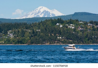 BELLINGHAM, WA/U.S.A. -  JULY 29, 2016:  A photo of Mount Baker with a motorboat and houses in the Bellingham town area.