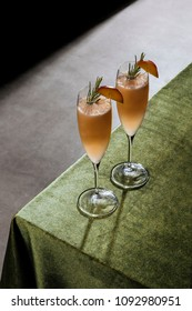 Bellini, a cocktail with Prosecco or champagne, white peaches and sugar syrup, in a pop contemporary style