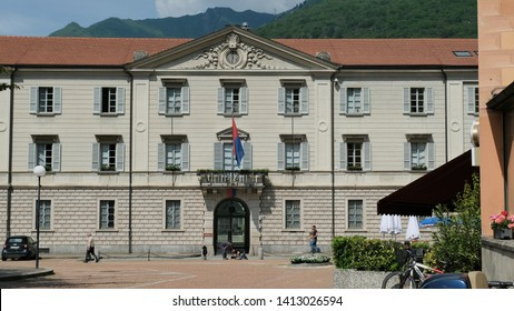 Bellinzona, Canton Ticino / Switzerland - May 24 2019: Palace of the Government of the Cantone Ticino.