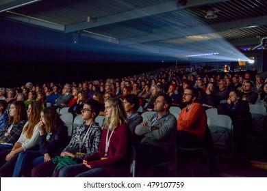 Bellinzona, Switzerland - 14 november 2015: People watching a movie at the cinema of Bellinzona in Switzerland