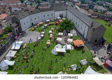 Bellinzona, Switzerland - 27 May 2018: the medieval market on Castelgrande castle at Bellinzona on the Swiss alps