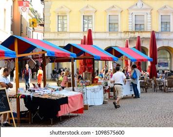 BELLINZONA, SWITZERLAND - JULY 4, 2014: Street vendors at the weekly Farmers Market in Bellinzona, Switzerland.