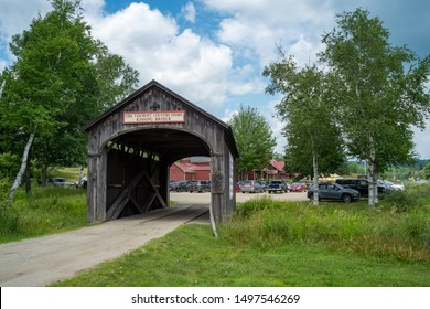 Bellows Falls, Vermont - July 5, 2019: A Covered Bridge at Vermont Country Store in Bellows Falls, Vermont on July 5, 2019.