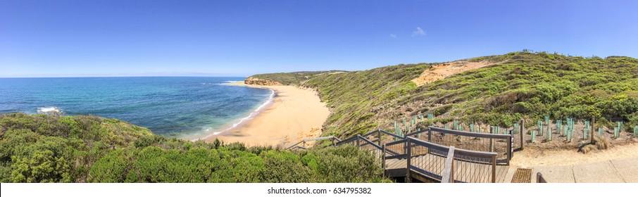 Bells Beach panoramic view, Great Ocean Road coastline, Australia.