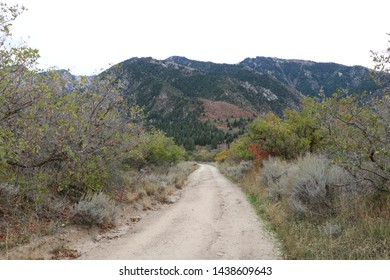 Bells Canyon waterfalls trail with Wasatch mountains background in October, Sandy, Utah