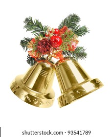 Bells with Christmas decoration isolated on white background